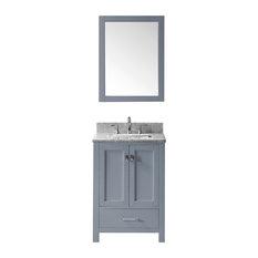 24-inch Single Bathroom Vanity Gray Marble Top Square Sink Faucet Mirror