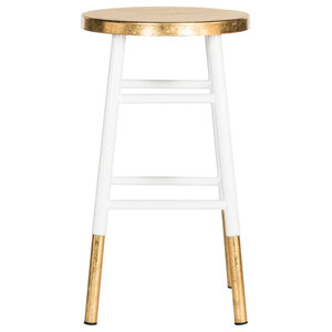 Safavieh Emery Dipped Gold Leaf Counterstool, White