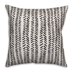 Black and White Modern Herringbone 18x18 Throw Pillow