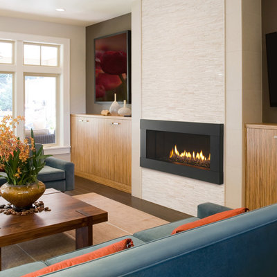 Example of a transitional home design design in Milwaukee