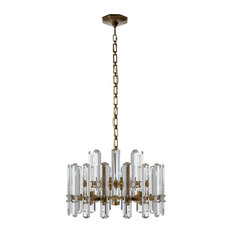 Visual Comfort Bonnington Chandelier in Hand-Rubbed Antique Brass with Crystal