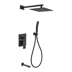 """Matte Black Shower Set With 12"""" Square Rain Shower, Handheld and Tub Filler"""