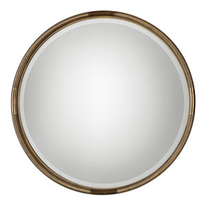 Antique Silver 32 Quot Round Mirror Transitional Wall