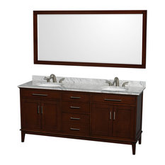 "72"" Double Bathroom Vanity in Dark Chestnut, Countertop, Mirror, Undermount Sink"