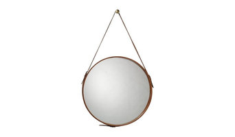 Round Leather Mirror with Hook