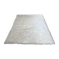 Super Plush White Faux Fur Area Rug 4'10x6'8 Large