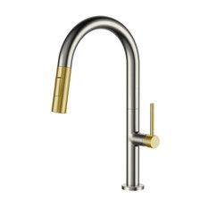 Fine Fixtures Pull Down Single Handle Kitchen Faucet, Satin Nickel/Satin Brass