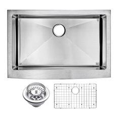 Corner Radius Single Bowl Apron Front Sink With Drain, Strainer, & Bottom Grid