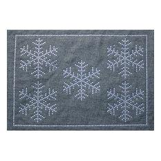 Rhinestone Winter Snowflake Placemat, Ash