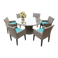 """Oasis 60"""" Round Glass Top Patio Dining Table with 6 Dining Chairs in Aruba"""