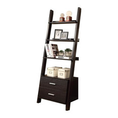 "Monarch 69"" Ladder Bookcase with 2 Storage Drawers in Cappuccino"