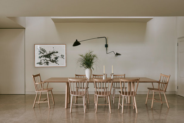 Transitional Dining Room by Garry Meakins Studio