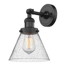Large Cone 1-Light LED Sconce, Matte Black, Glass: Seedy