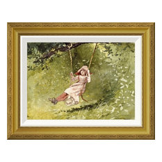 """""""Girl on a Swing"""" Framed Canvas Giclee by Winslow Homer, 22x17"""""""