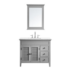 Piedmont Vanity With White Carrara Marble Countertop, Gray With Mirror, 42""