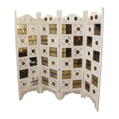 f7ce4ac10db6 Consigned Antique 4-Panel Wood Screens Room Divider Whitewashed Home Decor