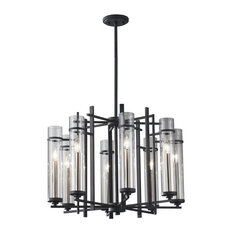 Feiss Ethan 8-Light Clear Glass Antique Forged Iron/Brushed Steel up Chandelier