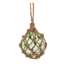 Midwest-CBK - Jute Wrapped Coastal Marine Glass Ornament, Seafoam Green - Christmas Ornaments