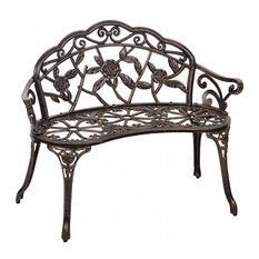 "Antique-Style Garden Bench, Aluminum Rose, 39"", Bronze"