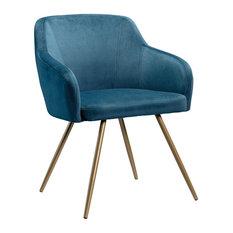 Sauder International Lux Velvet Accent Chair In Blue And Satin Gold