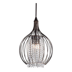 edvivi 3 light crystal pendant with metal bell shade antique bronze pendant cage pendant lighting