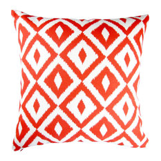 """Outdoor Geometric Throw Pillows, Set of 2, Coral Orange, 18"""", Cover and Insert"""