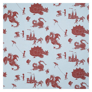"""PaperBoy Interiors """"Ere Be Dragons"""" Fabric, Blue and Red"""