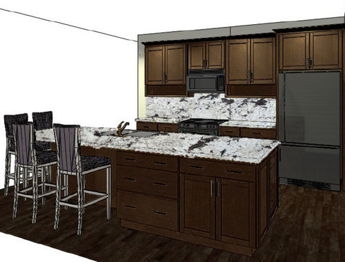 The Aw Granite Backsplash Is Star Of Show And There Will Be Dishes Mugs In Open Shelves Liances Are Slate Faucet Satin Nickel