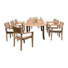 "Teak Deals - 9-Piece Teak Dining Set, 94"" Extension Rect Table, 8 Montana Stacking Chairs - Outdoor Dining Sets"