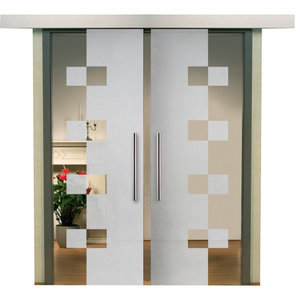"Double Sliding Barn Glass Door With Geometric Design, Semi-Private, 2x 28""x81"""