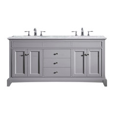 Elite Stamford Vanity, Carrera Marble Top, Chilled Gray, Double Vanity, 72""