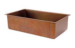 "33"" Antique Hammered Copper Kitchen Single Basin Sink"