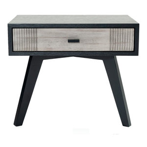 Nova Domus Panther Contemporary Gray and Black Nightstand