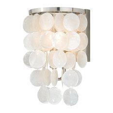 Vaxel Lighting W0151 Elsa Capiz Shell 1-Light Vanity, Satin Nickel