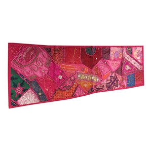 Mogul Interior - Consigned Moroccan Pink Sari Patchwork Sequin Embroidered Tapestry - Table Runners