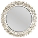 Foremost Groups Inc. - Round Decorative Mirror, Antique White - Beautify your home with this traditional antique white mirror, trimmed with feathered embellishments. This elegant and oversized piece dresses up any room with its intricate design and presence. Truly making this piece remarkable is its effortless beauty and timeless composition. Not to mention, the included mounting hardware make decorating a breeze.