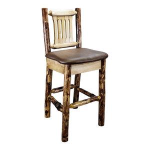 Montana Log Wood Barstool With Upholstered Seat MWGCBSWNRSADD Montana Wood work