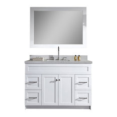 "Ariel Hamlet 49"" Single Sink Vanity Set, White Quartz Countertop, White"