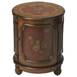 Captivating Butler Thurmond Red Hand Painted Drum Table