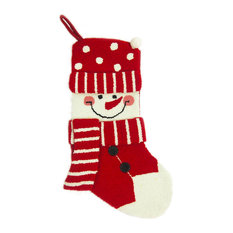 glitzhome hooked christmas stocking with 3d snowman christmas stockings and holders - Modern Christmas Stockings