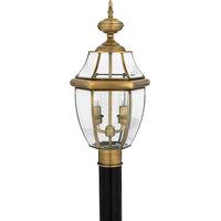 Newbury 2-Light Outdoor Post Lantern With Antique Brass, Antique Brass