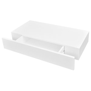 VidaXL White MDF Floating Wall Display Shelf With 1 Drawer