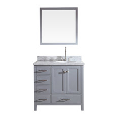 "Ariel Bath - Ariel Cambridge 37"" Single Right Sink Vanity Set, Gray - Bathroom Vanities and Sink Consoles"