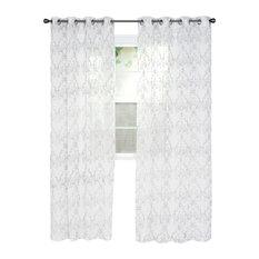 Set of 2 Lavish Home Valencia Embroidered Curtain, 108