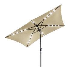 10x6.5 ' 20 Leds 6 Ribs Patio Solar Led Umbrella Tilt, Beige