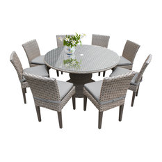 """Oasis 60"""" Outdoor Patio Dining Table With 8 Armless Chairs, Gray"""