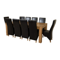 Kuba Chunky Oak Dining Table With 10 Lola Chairs, 220 cm, Black Leather