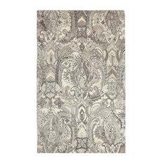 Ornate Art Deco Fleur De Lis Wool Area Rug, 9'x12' Toile Gray Beige Scroll