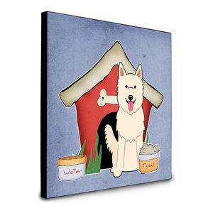 Dog House Collection White German Shepherd Artwork Panel Wall Decor, Multicolor