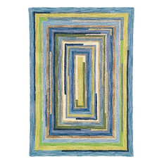 Concentric Squares Wool Hand Tufted 9'x13' Rug, Sky